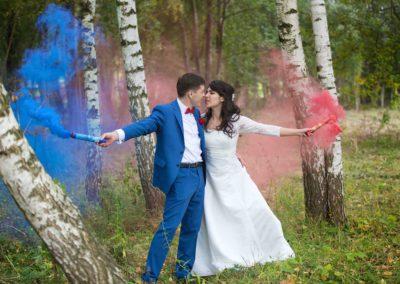 Свадебная фотосессия с дымовыми шашками